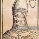 Pope Vigilius (c. 500-555). Roman pope (537-555), elected in 536. Portrait. Engraving. National Library. Rome. Italy.